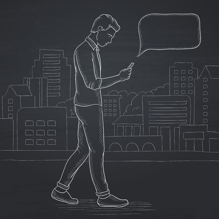 A hipster man with the beard walking with a smartphone in the city. Hand drawn in chalk on a blackboard vector sketch illustration.