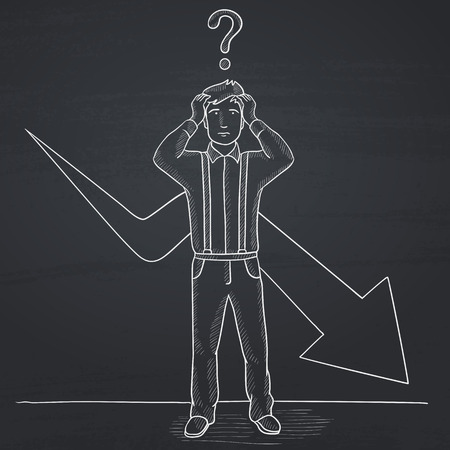 going down: A businessman in despair with a question mark above his head and an arrow going down behind him. Hand drawn in chalk on a blackboard vector sketch illustration.