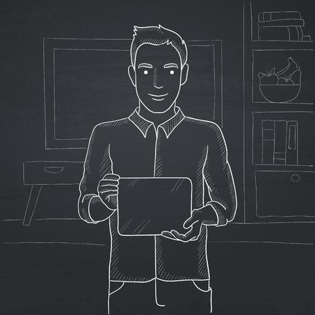 Un homme tenant un ordinateur tablette dans les mains sur le fond de salon.  Tirée par la main à la craie sur un tableau noir vecteur croquis ...