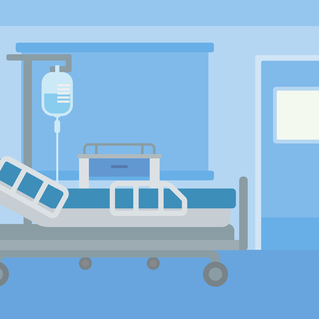 infirmary: Background of hospital ward with medical equipment vector flat design illustration. Square layout.