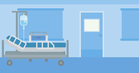 sickroom: Background of hospital ward with medical equipment vector flat design illustration. Horizontal layout. Illustration