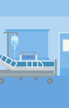 infirmary: Background of hospital ward with medical equipment vector flat design illustration. Vertical layout.