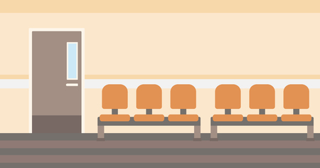 hospital corridor: Background of hospital corridor with chairs and door vector flat design illustration. Horizontal layout.