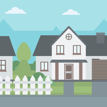 suburban house: Background of suburban house with fence vector flat design illustration. Square layout.