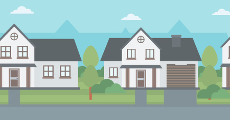 driveway: Background of suburban houses vector flat design illustration. Horizontal layout.