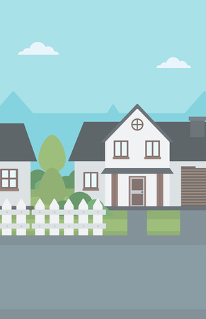 Background of suburban house vector flat design illustration. Vertical layout.