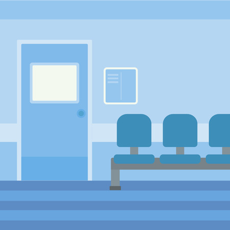 Background of hospital corridor with chairs and door vector flat design illustration. Square layout.