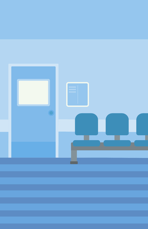 hospital corridor: Background of hospital corridor with chairs and door vector flat design illustration. Vertical layout. Illustration