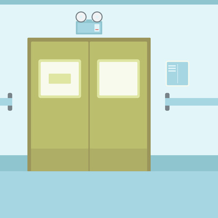 infirmary: Background of hospital corridor with closed doors vector flat design illustration. Square layout. Illustration