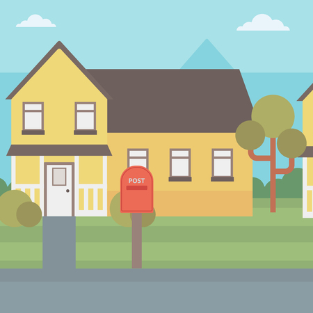 suburban house: Background of suburban house with mailbox vector flat design illustration. Square layout.