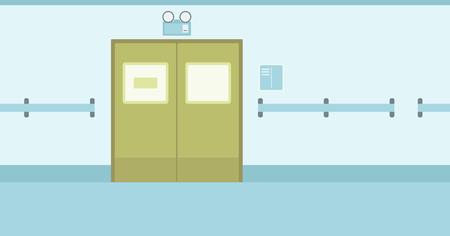 Background of hospital corridor with closed doors vector flat design illustration. Horizontal layout. Stock Illustratie