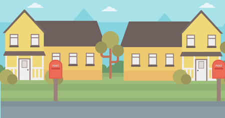 Background of suburban houses with mailboxes vector flat design illustration. Horizontal layout.
