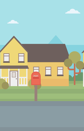 suburban house: Background of suburban house with mailbox vector flat design illustration. Vertical layout. Illustration