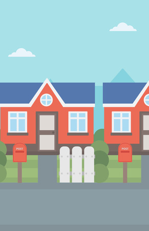 mailboxes: Background of suburban houses with mailboxes vector flat design illustration. Vertical layout. Illustration
