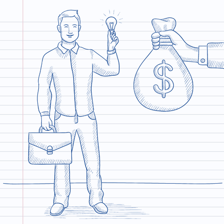 exchanging: A man exchanging his idea bulb to money bag. Hand drawn vector sketch illustration. Notebook paper in line background.