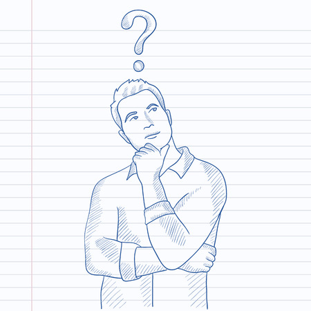 Businessman with question mark above his head. Hand drawn vector sketch illustration. Notebook paper in line background. Иллюстрация