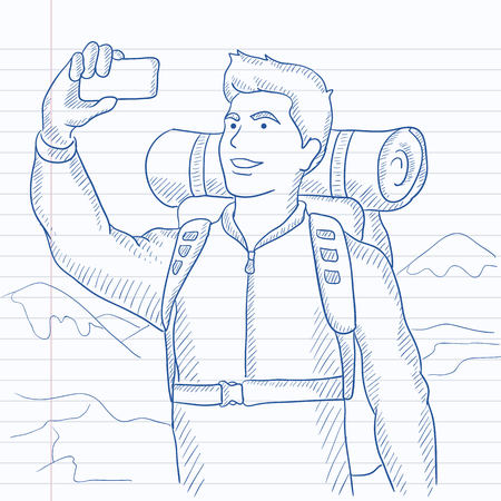 A man making selfie on the background of hilly countryside. Hand drawn vector sketch illustration. Notebook paper in line background.