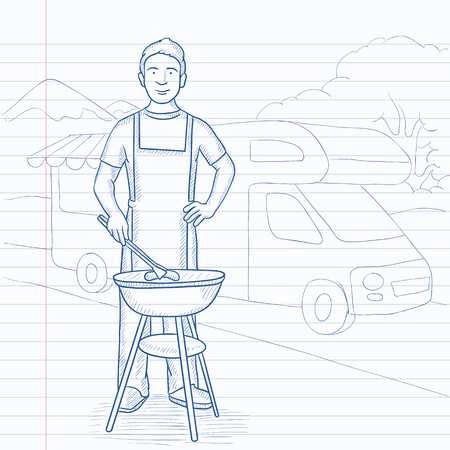 motorhome: A man preparing barbecue  near motorhome in the forest. Hand drawn vector sketch illustration. Notebook paper in line background.