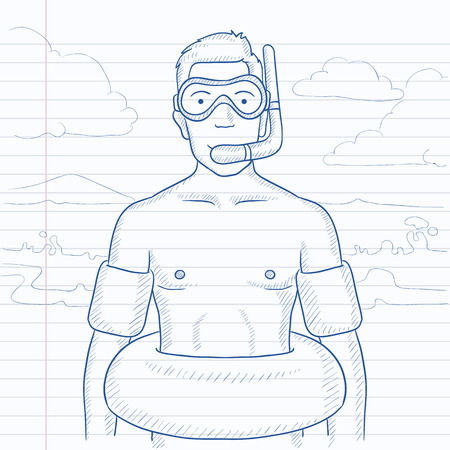 rubber tube: A man standing in mask, tube and rubber ring on the beach. Hand drawn vector sketch illustration. Notebook paper in line background.