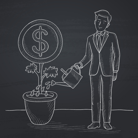 lenght: A man taking care of finances watering a money flower. Hand drawn in chalk on a blackboard vector sketch illustration.