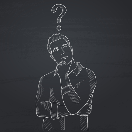 businessperson: Businessman with question mark above his head. Hand drawn in chalk on a blackboard vector sketch illustration.