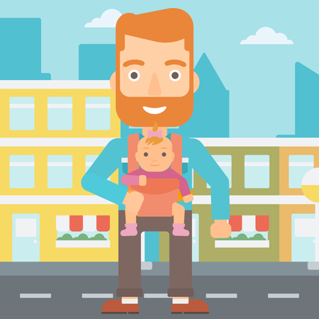 sling: A hipster man with the beard carrying a baby in sling on the background of modern city vector flat design illustration. Square layout. Illustration