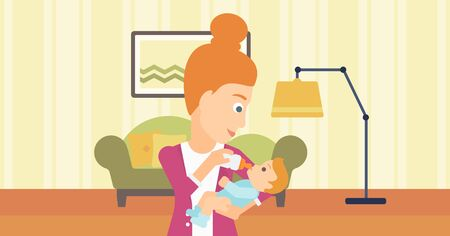living room design: A woman feeding a little baby with a milk bottle on the background of living room vector flat design illustration. Horizontal layout.