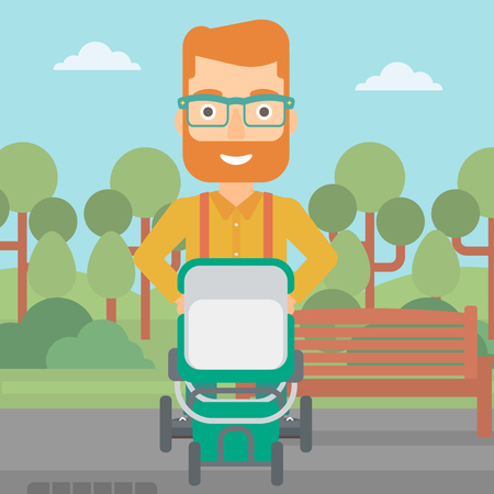 A hipster man with the beard walking with baby stroller in the park vector flat design illustration. Square layout.