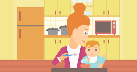 A young mother feeding baby on a kitchen background vector flat design illustration. Horizontal layout.