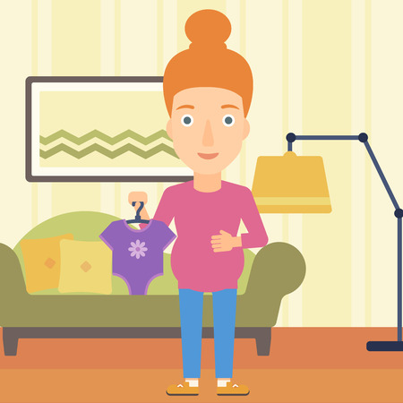 A pregnant woman holding clothes for her baby on the background of living room vector flat design illustration. Square layout.