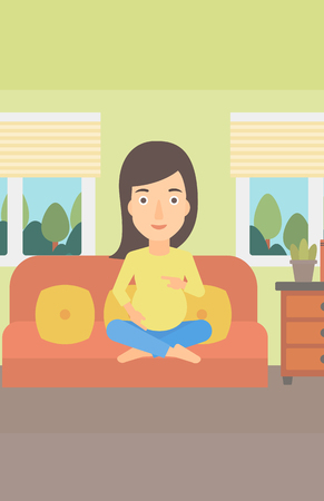 sitting sofa: A pregnant woman sitting on a sofa in living room vector flat design illustration. Vertical layout.