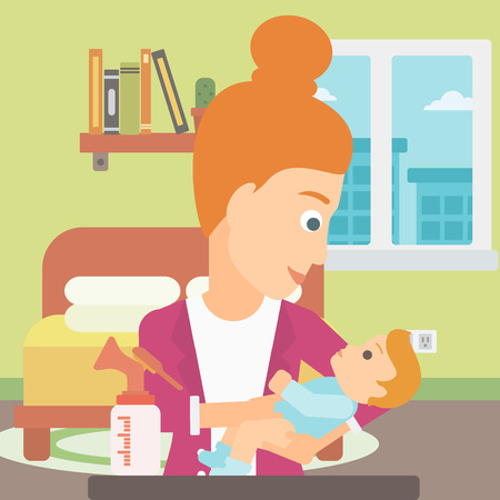 A woman holding a newborn baby and a breast pump standing on the table in front of her on the background of living room vector flat design illustration. Square layout. Ilustração