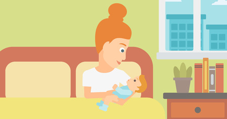 A woman lying in bed with a newborn baby in a maternity ward vector flat design illustration. Horizontal layout.