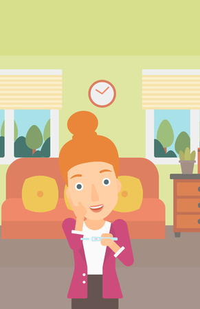 delighted: A delighted woman looking at positive pregnancy test on the background of living room vector flat design illustration. Vertical layout.