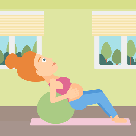 pregnancy exercise: A pregnant woman doing exercises with a gymnastic ball indoor vector flat design illustration. Square layout.