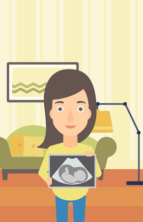 childbearing: A pregnant woman holding a tablet with an ultrasound image on the background of living room vector flat design illustration. Vertical layout.