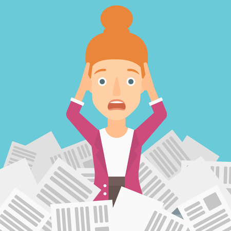 pile of newspapers: A stressed woman clutching her head because of having a lot of work to do with a heap of newspapers in front of her vector flat design illustration. Square layout. Illustration