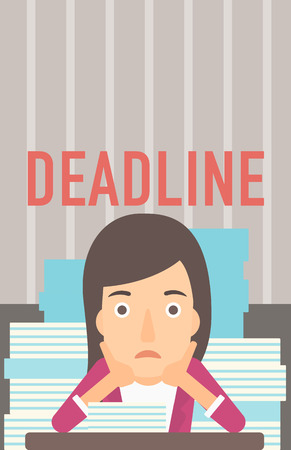 file clerk: A scared woman sitting at the table with stacks of papers and having problem with deadline vector flat design illustration. Vertical layout.