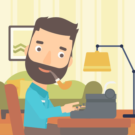 article writing: A reporter writing an article on typewriter and smoking pipe on the background of living room vector flat design illustration. Square layout.