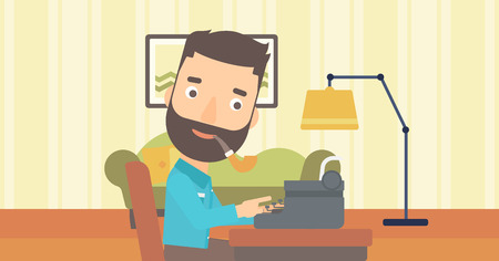 A reporter writing an article on typewriter and smoking pipe on the background of living room vector flat design illustration. Horizontal layout.