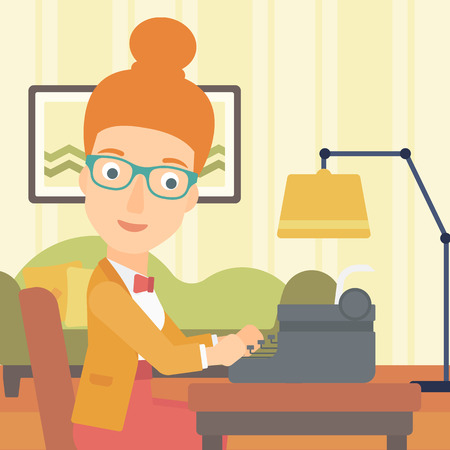 article writing: A reporter writing an article on typewriter on the background of living room vector flat design illustration. Square layout.
