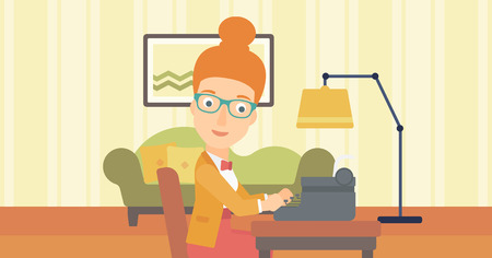 article writing: A reporter writing an article on typewriter on the background of living room vector flat design illustration. Horizontal layout.