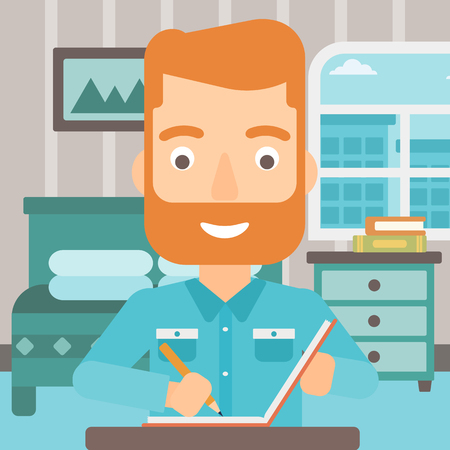 article writing: A hipster man with the beard sitting at the table and writing an article in writing-pad on the background of bedroom vector flat design illustration. Square layout.