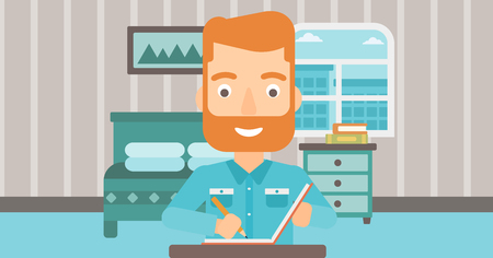 article: A hipster man with the beard sitting at the table and writing an article in writing-pad on the background of bedroom vector flat design illustration. Horizontal layout. Illustration