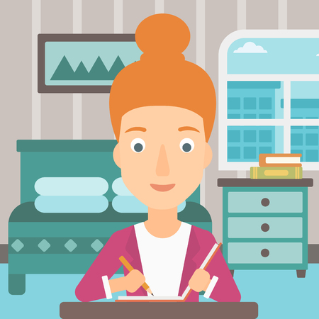 article writing: A reporter sitting at the table and writing an article in writing-pad on the background of bedroom vector flat design illustration. Square layout.