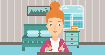 article writing: A reporter sitting at the table and writing an article in writing-pad on the background of bedroom vector flat design illustration. Horizontal layout.