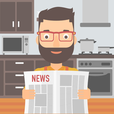 gazette: A hipster man with the beard reading the newspaper on the background of kitchen vector flat design illustration. Square layout.