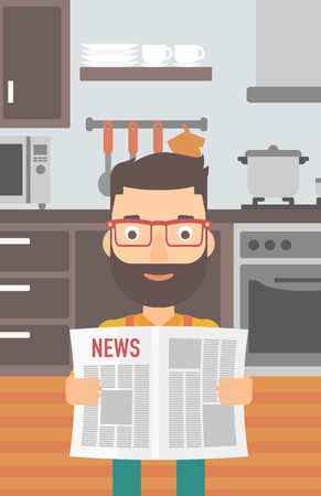 gazette: A hipster man with the beard reading the newspaper on the background of kitchen vector flat design illustration. Vertical layout.