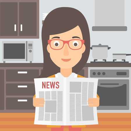 gazette: A woman reading the newspaper on the background of kitchen vector flat design illustration. Square layout.