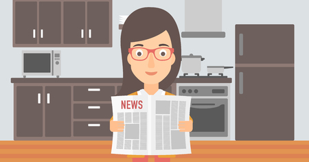 gazette: A woman reading the newspaper on the background of kitchen vector flat design illustration. Horizontal layout.